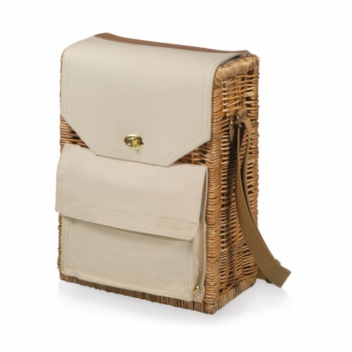 Corsica Wine & Cheese Picnic Basket, Beige Canvas Perspective: front