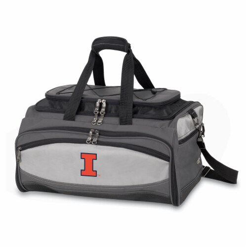 Illinois Fighting Illini - Portable Charcoal Grill & Cooler Tote Perspective: front