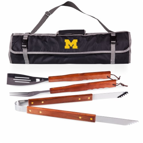 Michigan Wolverines - 3-Piece BBQ Tote & Grill Set Perspective: front