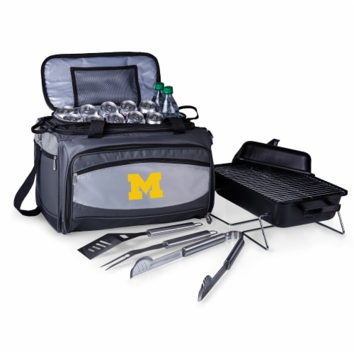Michigan Wolverines - Portable Charcoal Grill & Cooler Tote Perspective: front