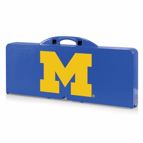Michigan Wolverines - Picnic Table Portable Folding Table with Seats Perspective: front