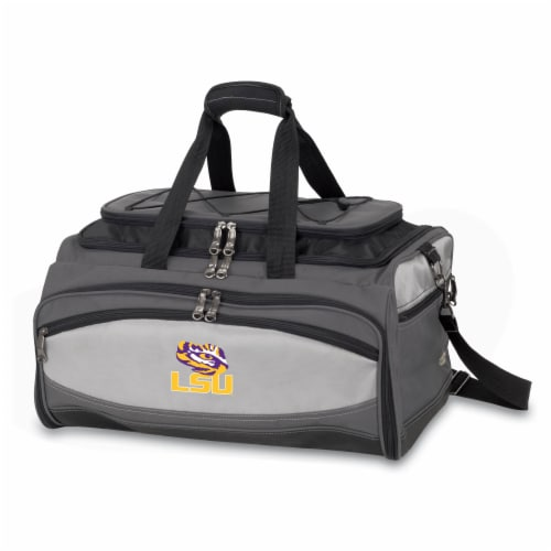 LSU Tigers - Portable Charcoal Grill & Cooler Tote Perspective: front
