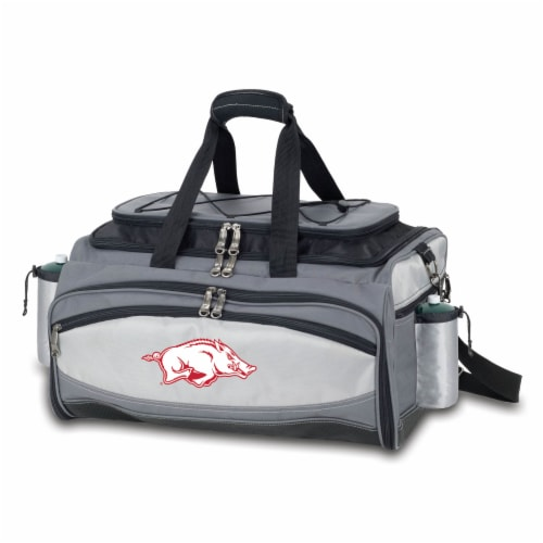 Arkansas Razorbacks - Vulcan Portable Propane Grill & Cooler Tote Perspective: front