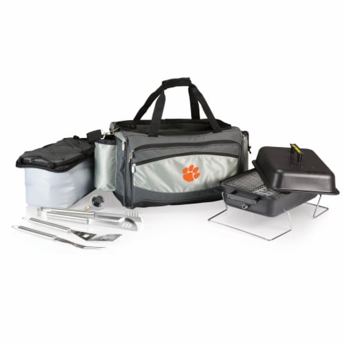 Clemson Tigers - Vulcan Portable Propane Grill & Cooler Tote Perspective: front