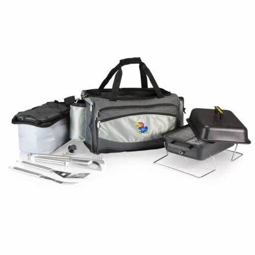 Kansas Jayhawks - Vulcan Portable Propane Grill & Cooler Tote Perspective: front