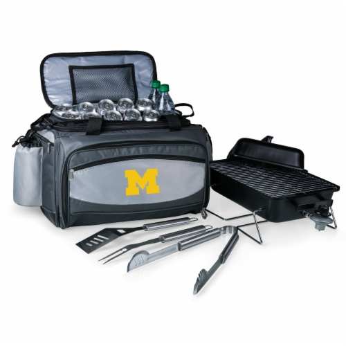 Michigan Wolverines - Vulcan Portable Propane Grill & Cooler Tote Perspective: front