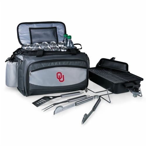 Oklahoma Sooners - Vulcan Portable Propane Grill & Cooler Tote Perspective: front