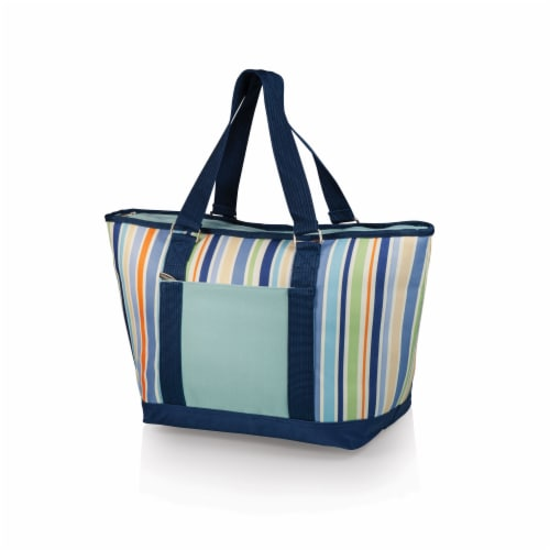 Topanga Cooler Tote Bag, Sky Blue with Multi Stripe Pattern Perspective: front
