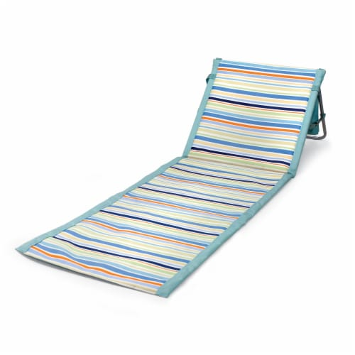 Beachcomber Portable Beach Chair & Tote, Sky Blue with Multi Stripe Pattern Perspective: front