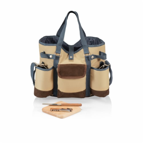 Wine Country Tote – Wine & Cheese Picnic Tote, Beige Canvas with Navy Blue & Brown Accents Perspective: front