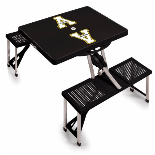 App State Mountaineers - Picnic Table Portable Folding Table with Seats Perspective: front