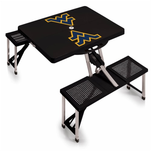 West Virginia Mountaineers - Picnic Table Folding Table with Seats Perspective: front