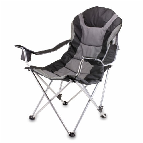 Reclining Camp Chair, Black with Gray Accents Perspective: front