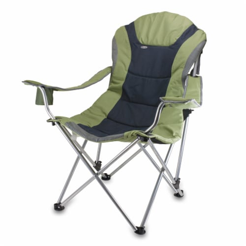 Reclining Camp Chair, Sage Green with Gray Accents Perspective: front