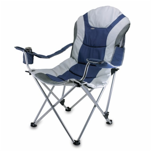 Reclining Camp Chair, Navy Blue with Gray Accents Perspective: front