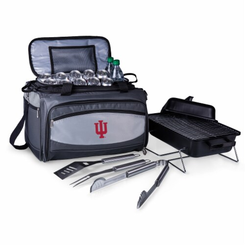 Indiana Hoosiers - Portable Charcoal Grill & Cooler Tote Perspective: front