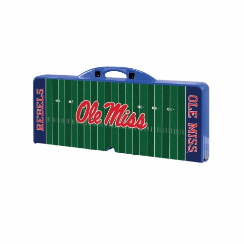 Ole Miss Rebels - Picnic Table Portable Folding Table with Seats Perspective: front