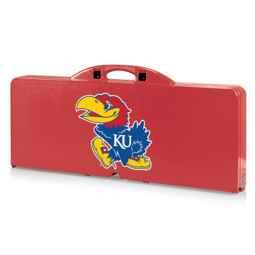 Kansas Jayhawks - Picnic Table Portable Folding Table with Seats Perspective: front