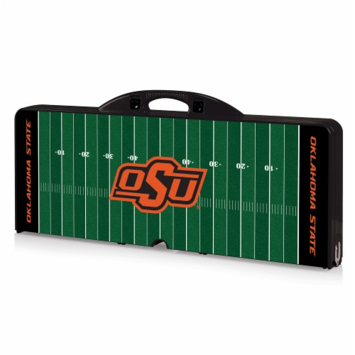 Oklahoma State Cowboys - Picnic Table Portable Folding Table with Seats Perspective: front