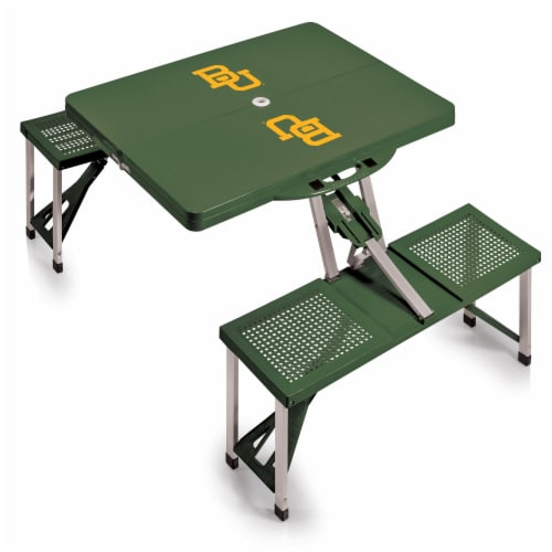 Baylor Bears - Picnic Table Portable Folding Table with Seats Perspective: front