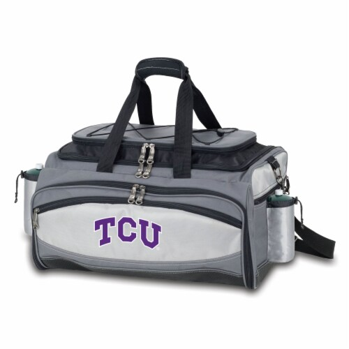 TCU Horned Frogs - Vulcan Portable Propane Grill & Cooler Tote Perspective: front