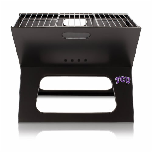 TCU Horned Frogs - X-Grill Portable Charcoal BBQ Grill Perspective: front