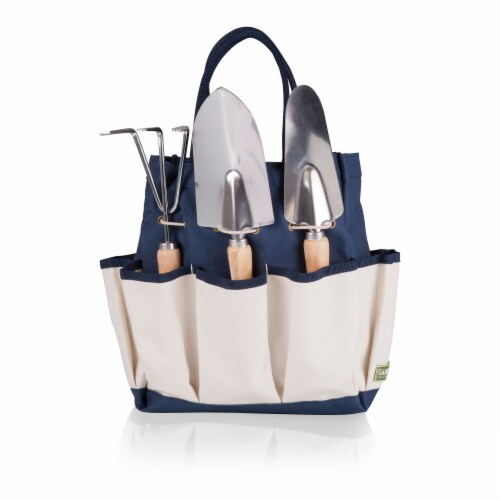 Garden Tote with Tools, Navy Blue with Beige Accents Perspective: front