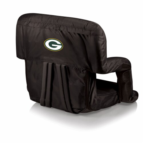 Green Bay Packers Ventura Portable Reclining Stadium Seat - Black Perspective: front