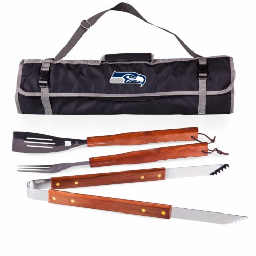 Seattle Seahawks - 3-Piece BBQ Tote & Grill Set Perspective: front