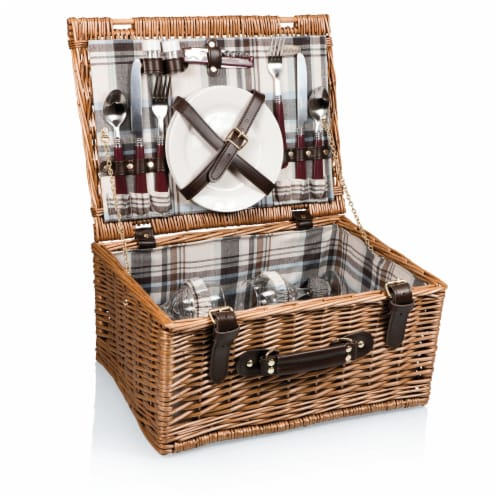 Bristol Picnic Basket, Navy Blue & Burgundy Plaid Pattern Perspective: front