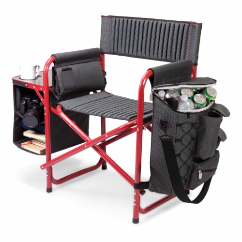 Fusion Backpack Chair with Cooler, Dark Gray with Red Accents Perspective: front