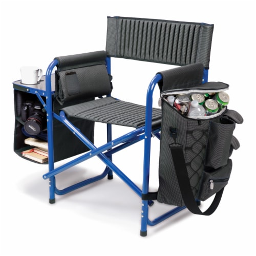 Fusion Backpack Chair with Cooler, Dark Gray with Blue Accents Perspective: front