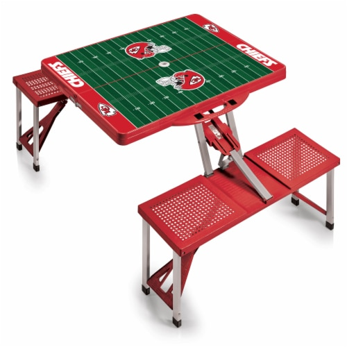 Kansas City Chiefs - Picnic Table Portable Folding Table with Seats Perspective: front