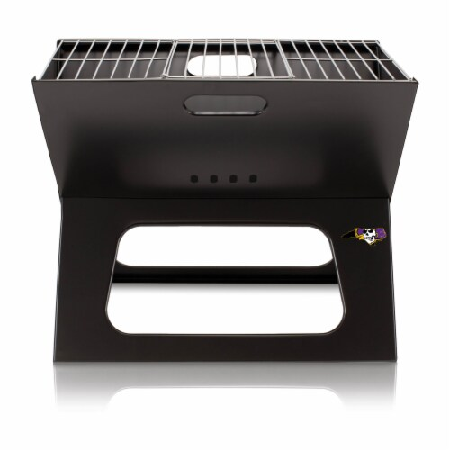 East Carolina Pirates - X-Grill Portable Charcoal BBQ Grill Perspective: front
