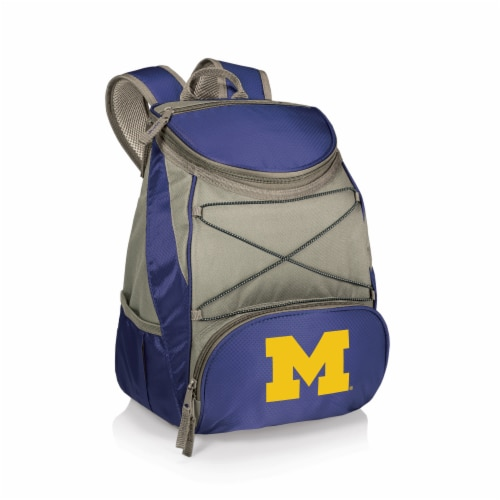 Michigan Wolverines PTX Cooler Backpack - Navy Perspective: front