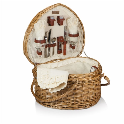 Heart Picnic Basket, Antique White Perspective: front