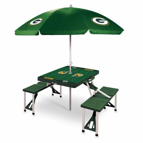 Green Bay Packers - Picnic Table Folding Table with Seats and Umbrella Perspective: front