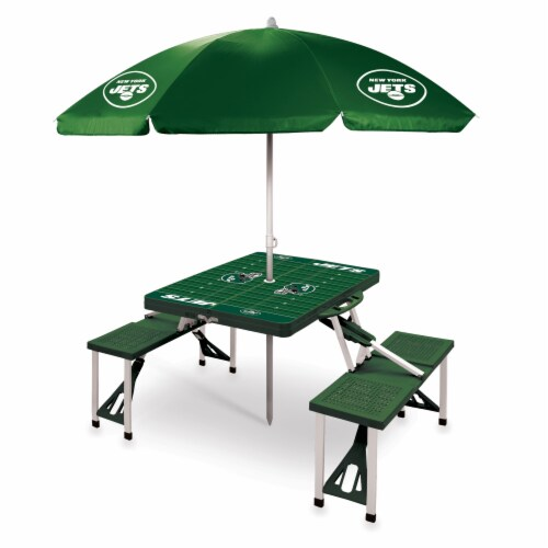 New York Jets - Picnic Table Folding Table with Seats and Umbrella Perspective: front