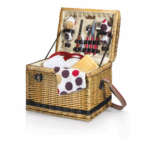 Yellowstone Picnic Basket, Brown with Beige & Red Accents Perspective: front