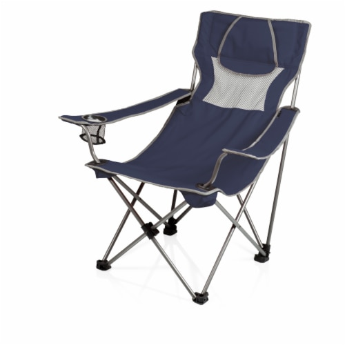 Campsite Camp Chair, Navy Blue with Gray Accents Perspective: front