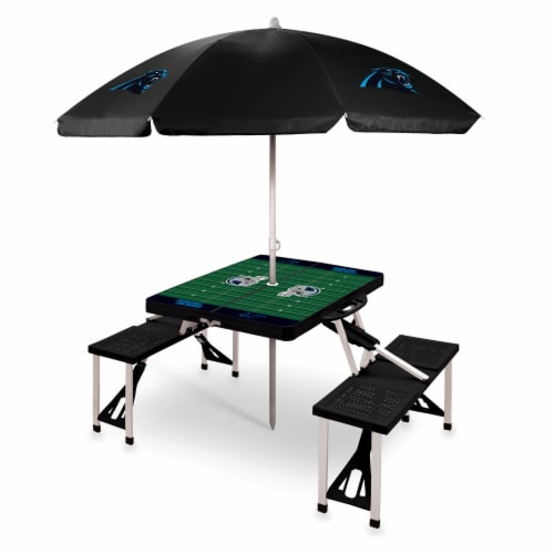 Carolina Panthers - Picnic Table Folding Table with Seats and Umbrella Perspective: front