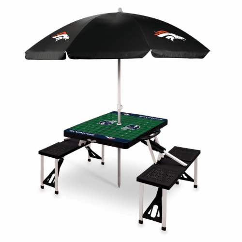 Denver Broncos - Picnic Table Folding Table with Seats and Umbrella Perspective: front