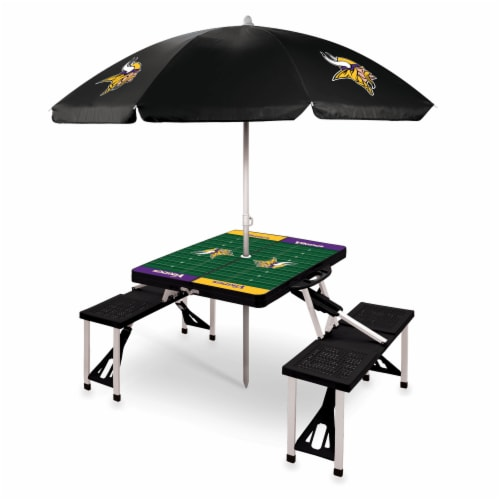 Minnesota Vikings - Picnic Table Folding Table with Seats and Umbrella Perspective: front