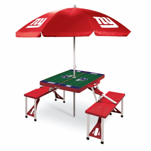 New York Giants - Picnic Table Folding Table with Seats and Umbrella Perspective: front