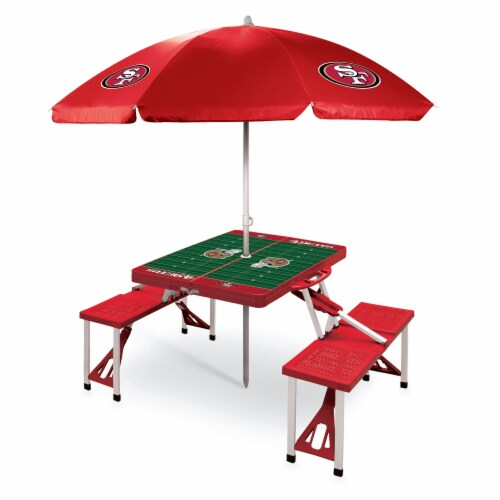 San Francisco 49ers - Picnic Table Folding Table with Seats and Umbrella Perspective: front