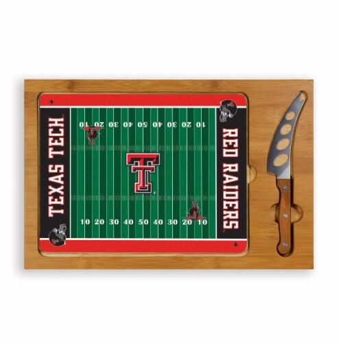 Texas Tech Red Raiders - Icon Glass Top Cutting Board & Knife Set Perspective: front