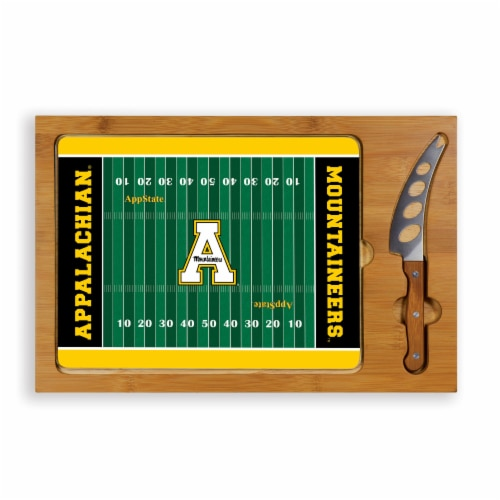 App State Mountaineers - Icon Glass Top Cutting Board & Knife Set Perspective: front