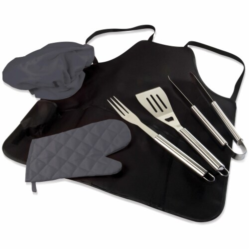 BBQ Apron Tote Pro Grill Set, Black with Gray Accents Perspective: front
