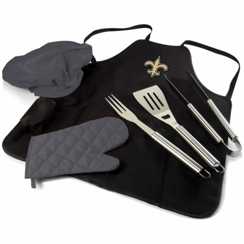 New Orleans Saints - BBQ Apron Tote Pro Grill Set Perspective: front