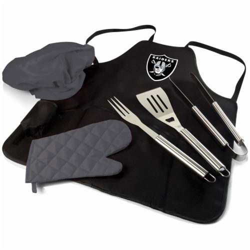 Oakland Raiders BBQ Apron Tote Pro Set with Tools Perspective: front